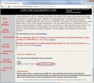 LaCock's website displaying the only available contact information