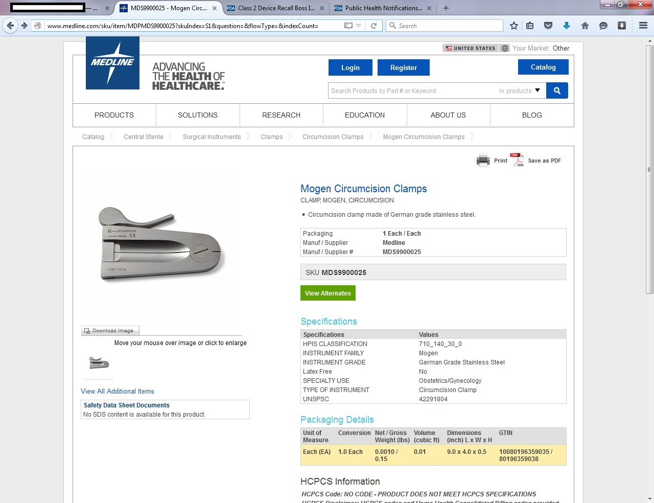 Mogen clamp in Medline's online catalog - in spite of a 2014 FDA recall notice